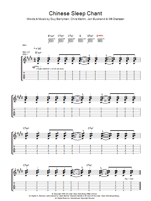 coldplay yellow guitar tab pdf