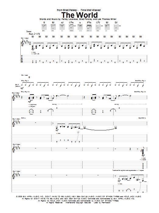 Tablature guitare The World de Brad Paisley - Tablature Guitare