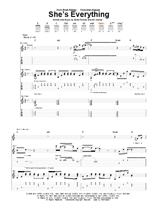 She's Everything sheet music for guitar solo (tablature) by Wil Nance