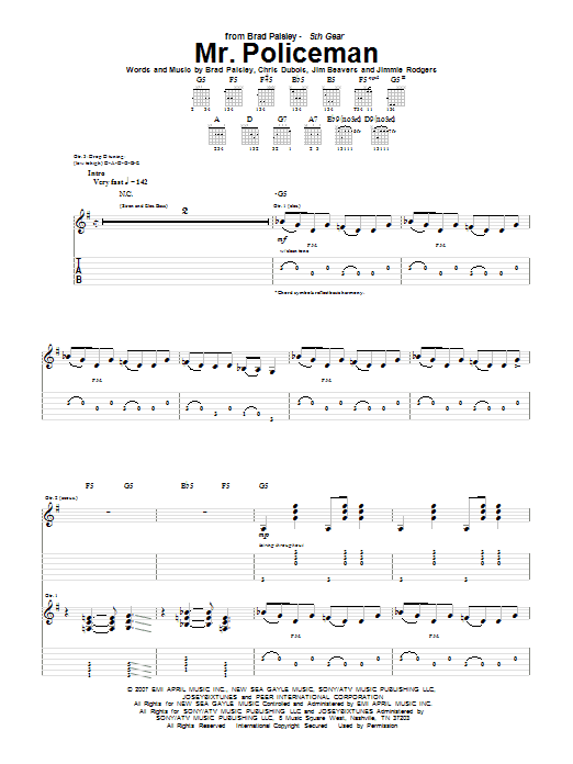 Mr. Policeman sheet music for guitar solo (tablature) by Jimmie Rodgers