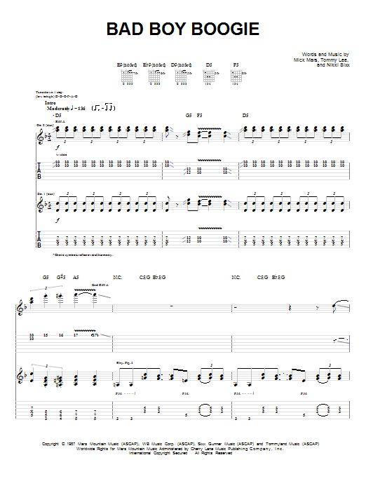 Bad Boy Boogie sheet music for guitar solo (tablature) by Tommy Lee Bass