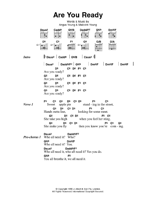 Are You Ready sheet music for guitar solo (chords, lyrics, melody) by Angus Young