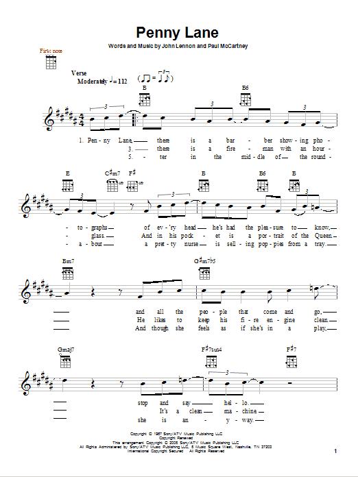 Tablature guitare Penny Lane de The Beatles - Ukulele
