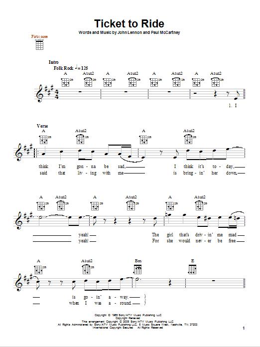 Tablature guitare Ticket To Ride de The Beatles - Ukulele