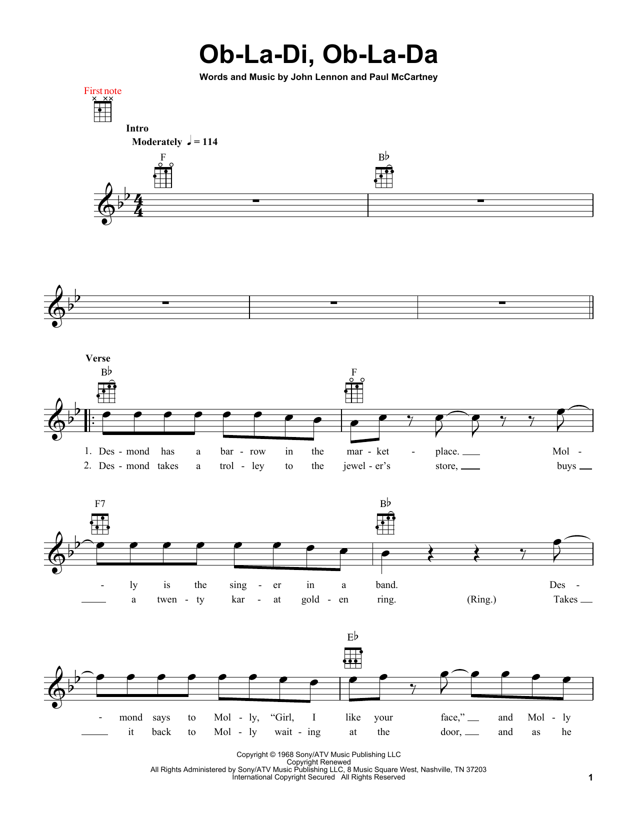 Tablature guitare Ob-La-Di, Ob-La-Da de The Beatles - Ukulele