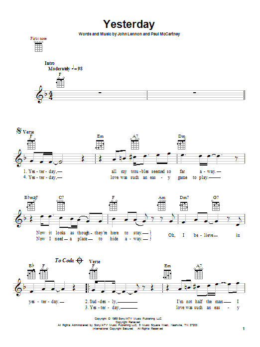 Tablature guitare Yesterday de The Beatles - Ukulele