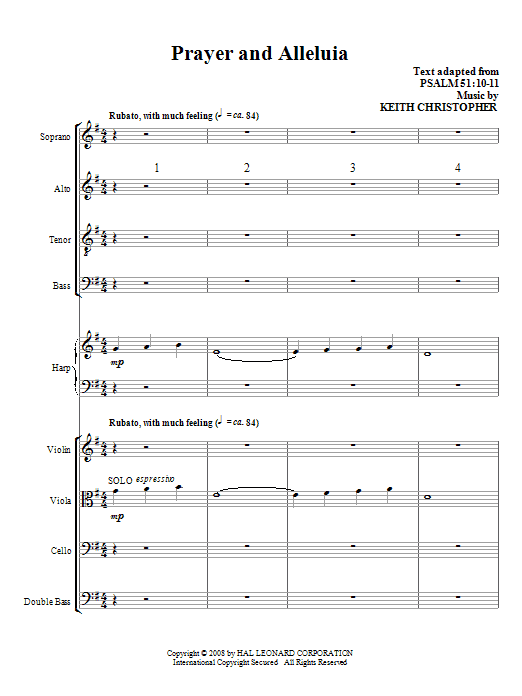 Prayer And Alleluia (COMPLETE) sheet music for orchestra/band (Special) by Keith Christopher