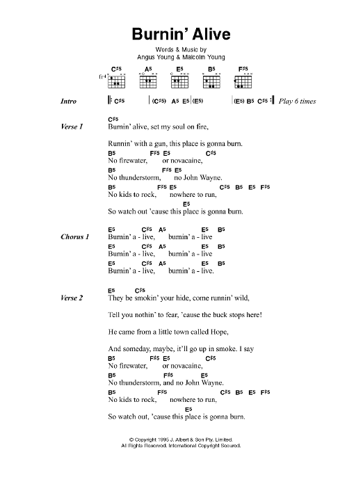 Burnin' Alive sheet music for guitar solo (chords, lyrics, melody) by Angus Young