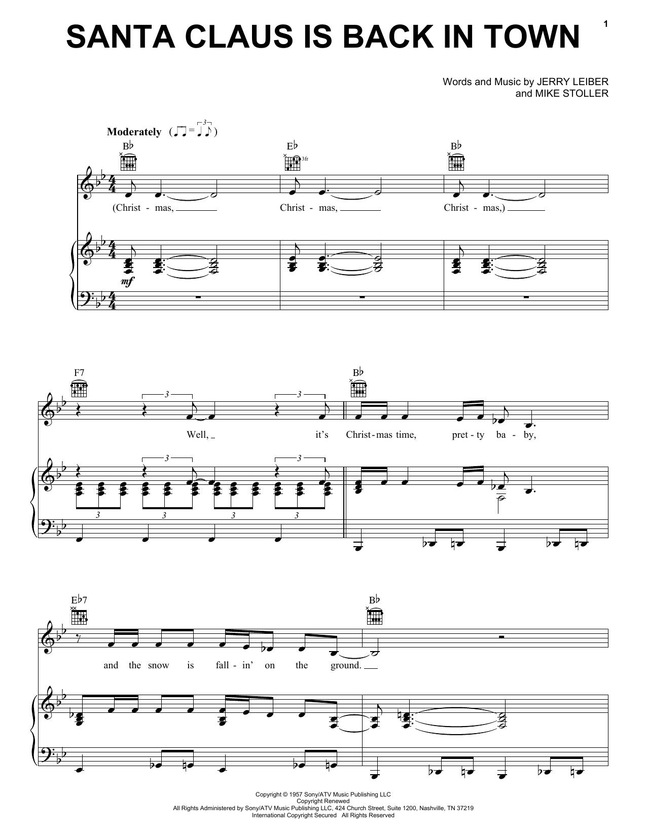 Partition piano Santa Claus Is Back In Town de Elvis Presley - Piano Voix Guitare (Mélodie Main Droite)