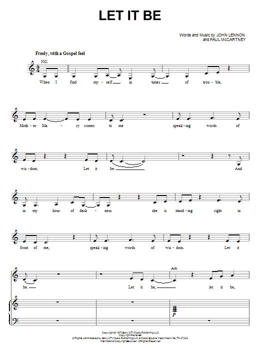 Partition piano Let It Be de The Beatles - Piano Voix Guitare (Mélodie Main Droite)