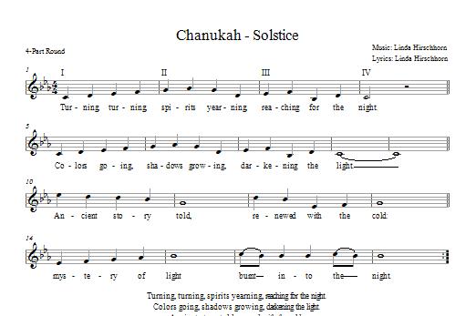 Partition chorale Chanukah - Solstice de Linda Hirschhorn - 2 ou 3 voix mixtes