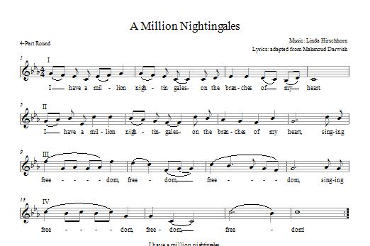 Partition chorale I Have a Million Nightingales de Linda Hirschhorn - 2 ou 3 voix mixtes