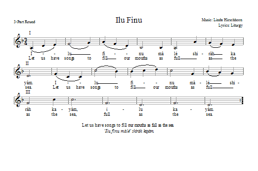 Partition chorale Ilu Finu de Linda Hirschhorn - 2 ou 3 voix mixtes