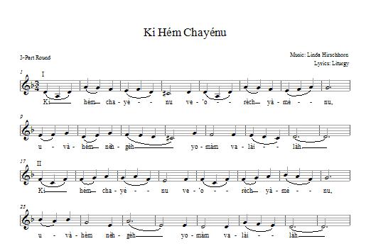 Partition chorale Ki Hem Khayenu de Linda Hirschhorn - 2 ou 3 voix mixtes