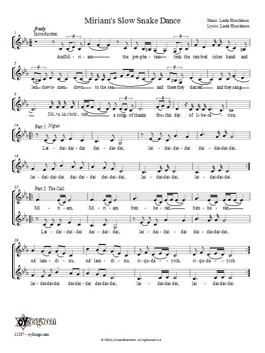 Partition autre Miriam's Slow Snake Dance de Linda Hirschhorn - 2 ou 3 voix mixtes