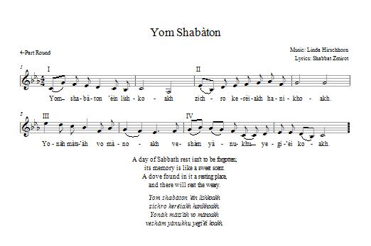 Partition chorale Yom Shabbaton de Linda Hirschhorn - 2 ou 3 voix mixtes