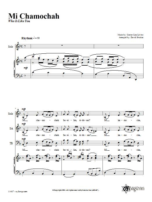 Partition chorale Mi Chamocha de David Shukiar - 2 voix