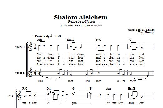 Partition chorale Shalom Aleichem (Peace Be With You) de Joel N. Eglash - 2 voix