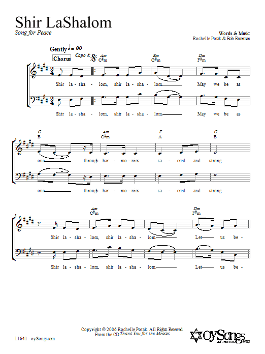 Partition chorale Shir LaShalom de Shir Harmony - 2 voix