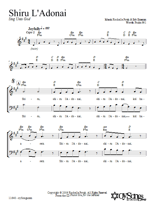 Partition chorale Shiru L'Adonai de Shir Harmony - 2 voix