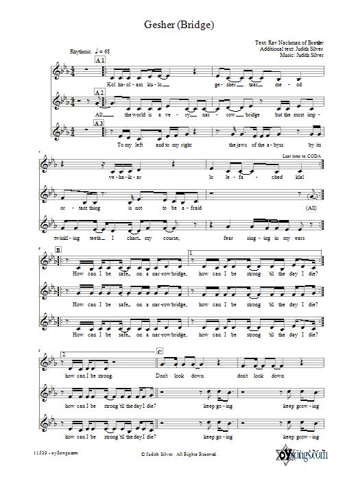 Partition autre Gesher (Bridge) de Judith Silver - 3 voix mixtes