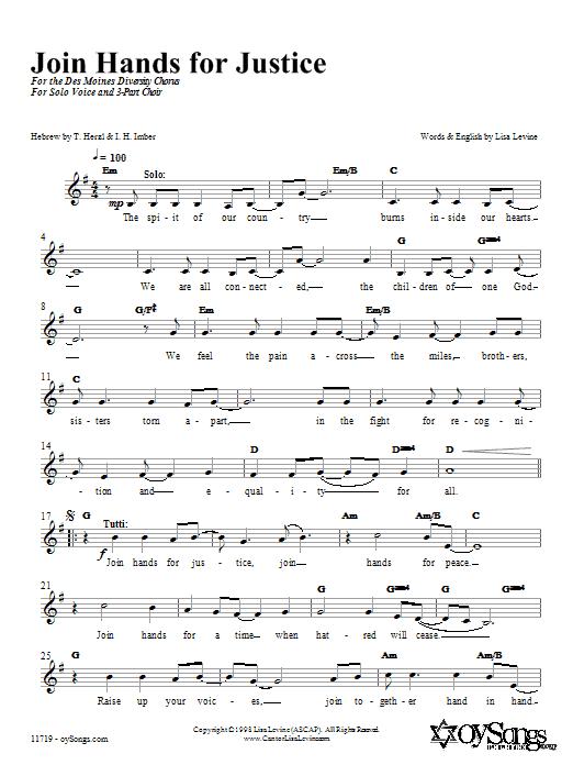 Partition autre Join Hands in Justice de Lisa Levine - 3 voix mixtes