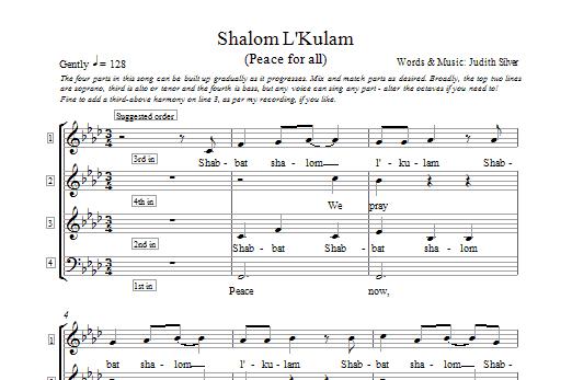 Partition chorale Shalom L'kulam de Judith Silver - 4 voix
