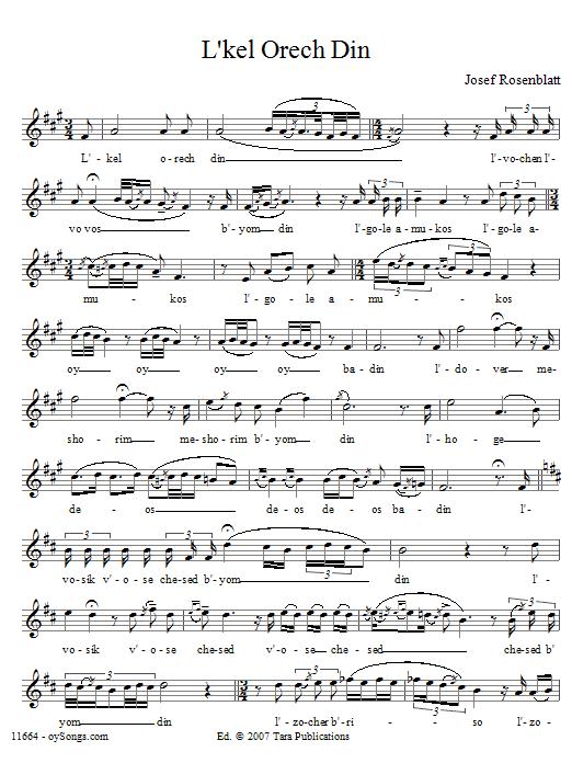 Partition autre L'kel Orech Din de Yossele Rosenblatt - Voix