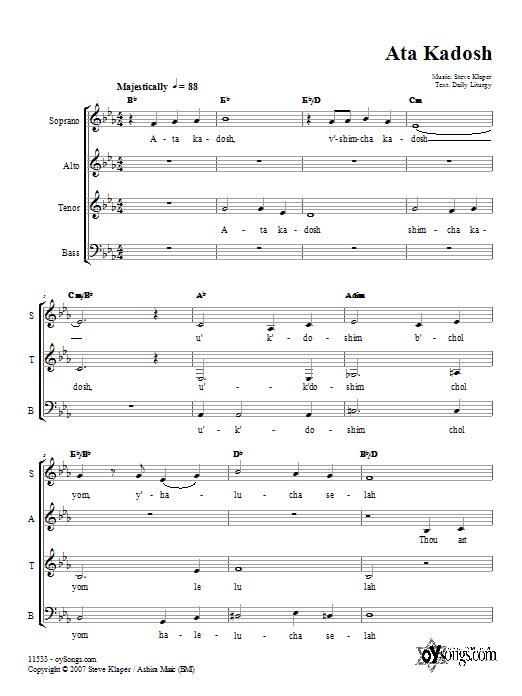 Partition chorale Ata Kadosh de Steve Klaper - SATB