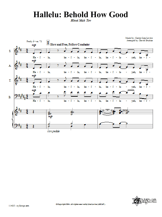 Partition chorale Behold How Good de Lisa Levine - SATB