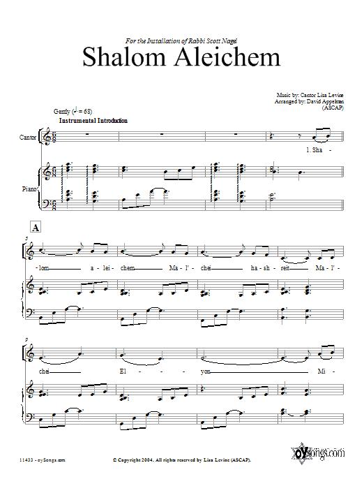 Partition chorale Shalom Aleichem de David Appelman - SATB