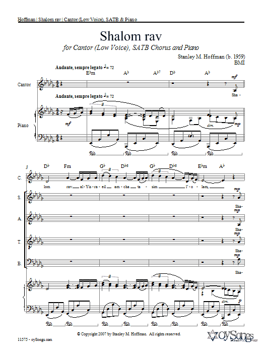 Shalom Rav sheet music for choir and piano (SATB) by Stanley Hoffman
