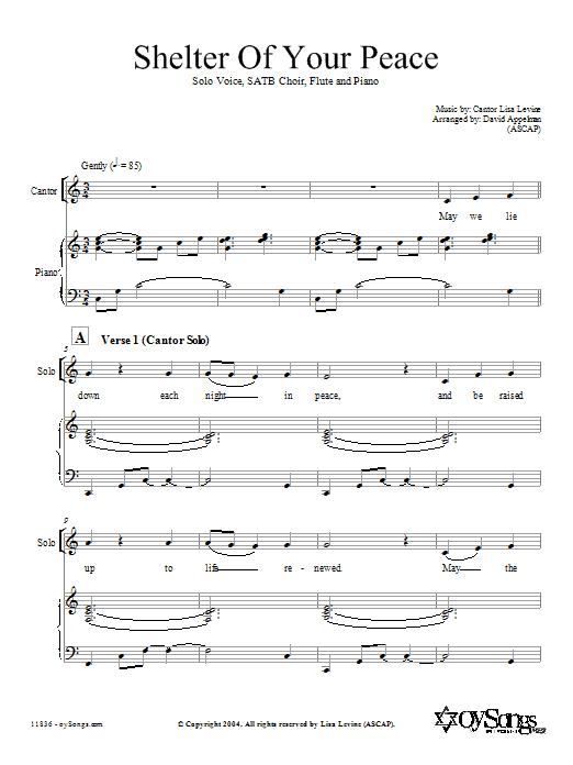 Partition chorale Shelter of Your Peace de L. Levine/arr. D. Appelman - SATB