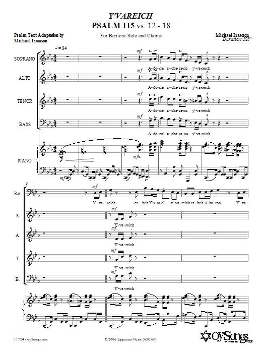 Partition chorale Y'vareich (Psalm 115) de Michael Isaacson - SATB