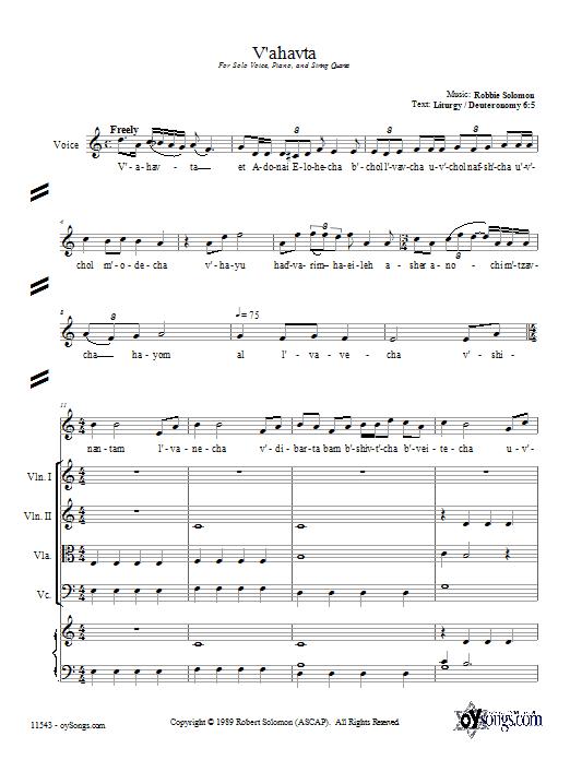 Partition autre V'ahavta de Robbie Solomon - Ensemble de Cordes