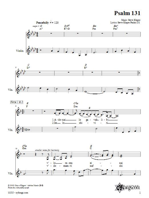 Partition autre Psalm 131 de Steve Klaper - Violon