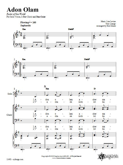 Partition piano Adon Olam de Lisa Levine - Piano Voix Guitare (Mélodie Main Droite)