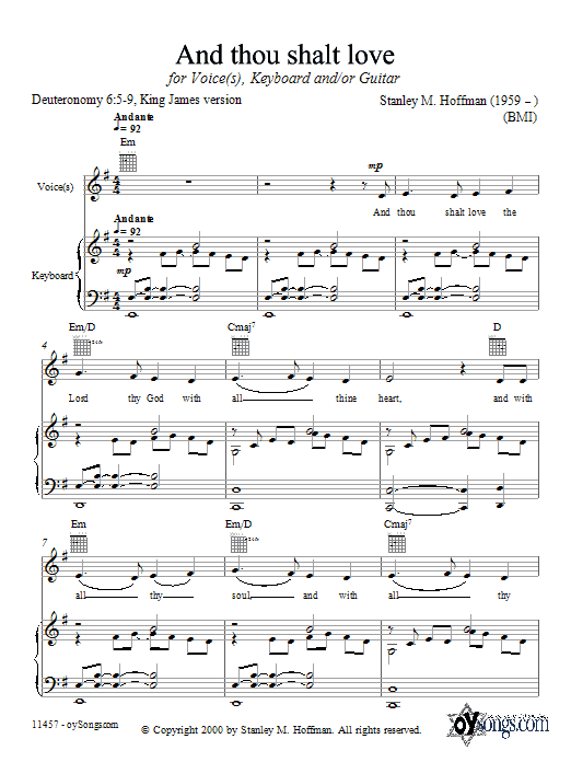 And Thou Shalt Love sheet music for voice, piano or guitar by Stanley Hoffman