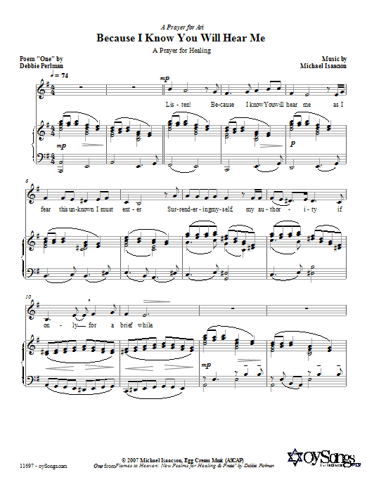 Partition piano Because I Know You Will Hear Me de Michael Isaacson - Piano Voix Guitare (Mélodie Main Droite)
