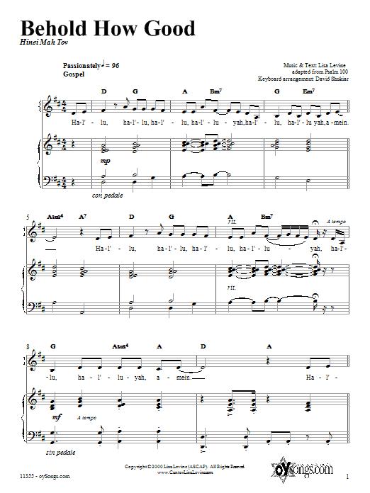 Partition piano Behold How Good de Lisa Levine - Piano Voix Guitare (Mélodie Main Droite)