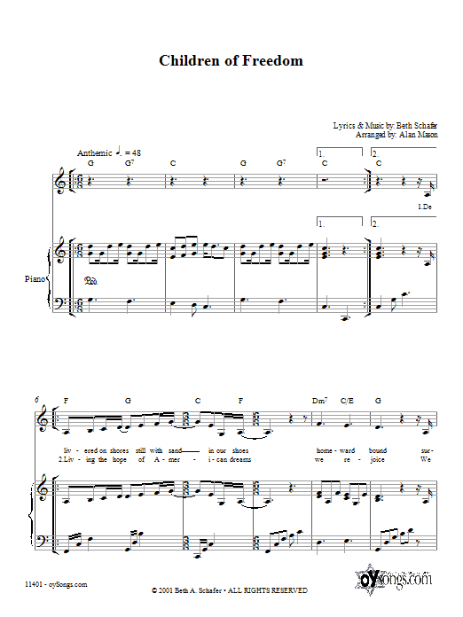 Partition piano Children of Freedom de Beth Schafer - Piano Voix Guitare (Mélodie Main Droite)