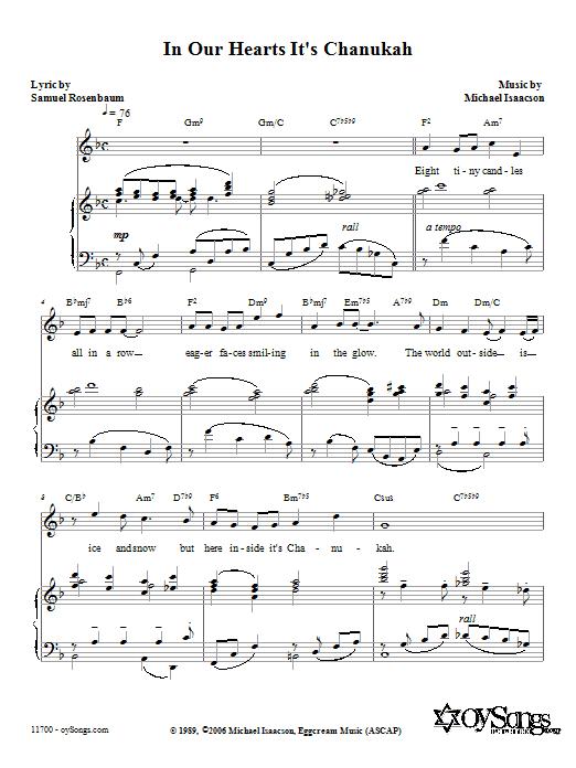 Partition piano In Our Hearts It's Chanukah de Michael Isaacson - Piano Voix Guitare (Mélodie Main Droite)