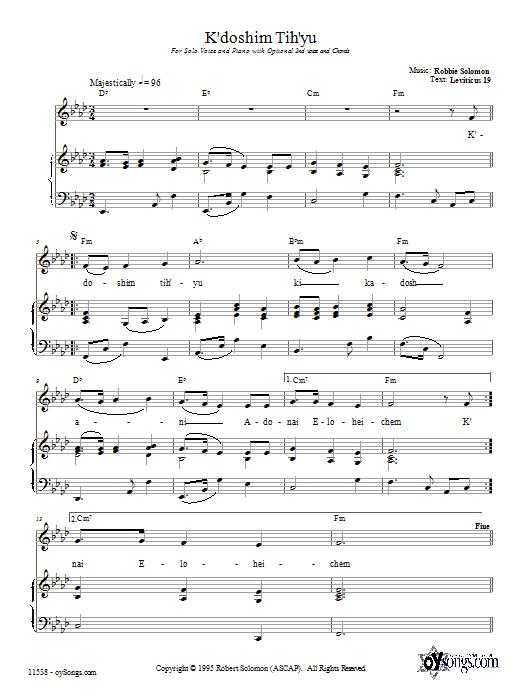 Partition piano K'doshim Tih'yu de Robbie Solomon - Piano Voix Guitare (Mélodie Main Droite)