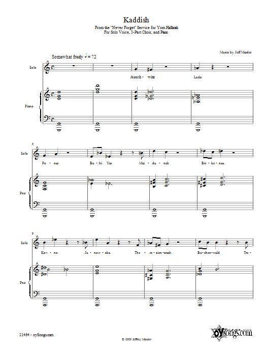 Partition piano Kaddish de Jeff Marder - Piano Voix Guitare (Mélodie Main Droite)
