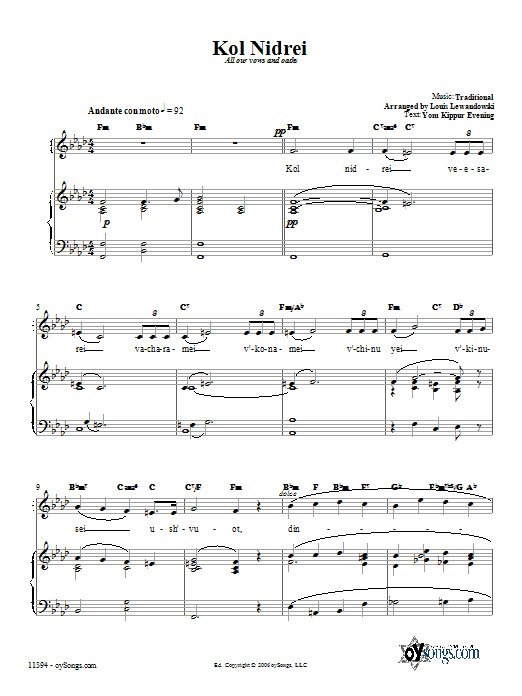 Partition piano Kol Nidrei de Traditional - Piano Voix Guitare (Mélodie Main Droite)