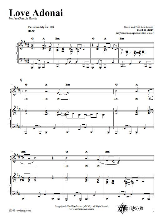 Partition piano Love Adonai de Lisa Levine - Piano Voix Guitare (Mélodie Main Droite)