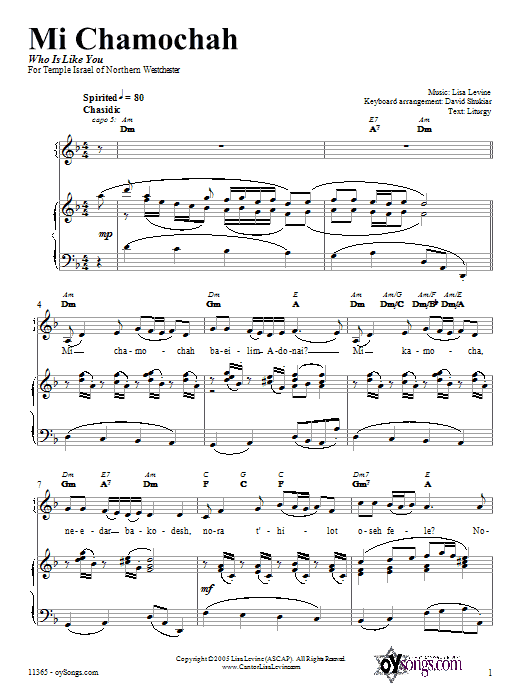 Partition piano Mi Chamochah de Lisa Levine - Piano Voix Guitare (Mélodie Main Droite)
