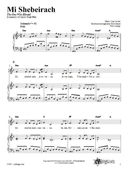Partition piano Mi Shebeirach de Lisa Levine - Piano Voix Guitare (Mélodie Main Droite)