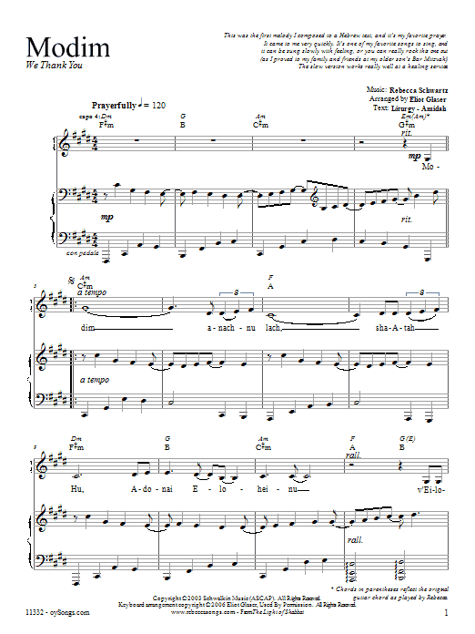 Partition piano Modim de Rebecca Schwartz - Piano Voix Guitare (Mélodie Main Droite)