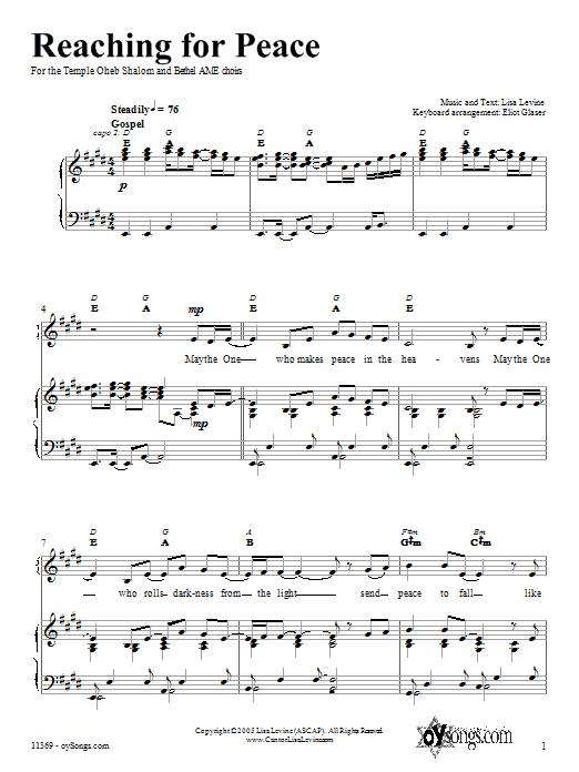 Partition piano Reaching for Peace de Lisa Levine - Piano Voix Guitare (Mélodie Main Droite)